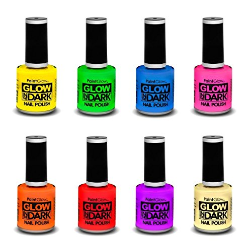 Paint Glow - Glow in the Dark Nagellack - UV Nail Varnish Bright Neon Nail Polish - Nageldesign - Farblack leuchtet im UV-Licht / Schwarzlicht - Nagelstudio-Sets - Unterlack - Disco/ Party leuchten (Rot)