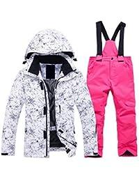 Keamallltd Chaqueta de esquí y Pantalones Deportivos con Capucha  Desmontable Impermeable Chaqueta de Snowboard Pantalones Niñas 262585eaea2