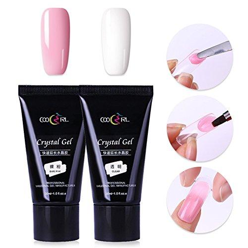 bonniestore 2klar 30ml Bare Pink Poly Kristall Gel Acryl Nail Enhancement UV-NAIL Builder Finger Tipps Clip Verlängerung Kleber