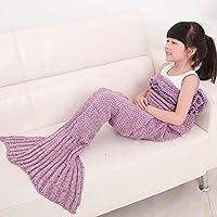 Bambini Crochet maglia sirena coda coperta, okayshop Handcraft Sacco a pelo per ragazze, tutte le stagioni coperta divano salotto, 135cmx65cm (134,6x 66cm) Rosa