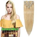 Extensiones de Cabellos Naturales Clips Pelo Humano 100% REMY 8 Piezas 18 Clips para el pelo muy fino (#613 Blanqueador rubio 45cm 70g)