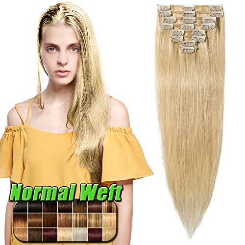 35-60cm extension clip capelli veri biondi 60cm/80g - 8 ciocche 100% remy human hair capelli naturali lisci umani #613 biondo chiarissimo