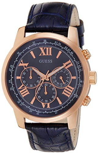 Guess (GVSS5) Men's Quartz Watch with Blue Dial Chronograph Display and Blue Imitation Leather Bracelet W0380G5