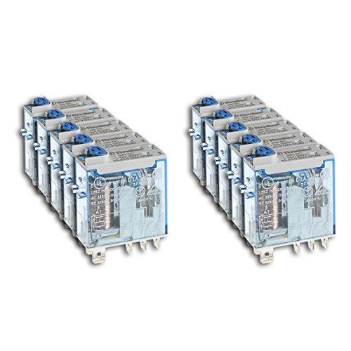 Finder 466190240074 Relais embrochable 1RT 16 A 24 Vdc avec Bouton test/Indicateur mécanique/Double LED Cosse faston Agni en lot de 10 unités