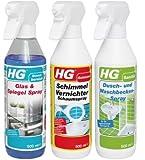 HG 1+2 Gratis Schimmel Vernichter Dusch Waschbecken Glas Spiegel Spray
