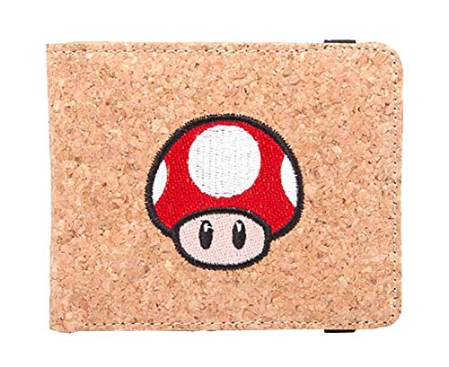 Nintendo MW120205NTN - Super Mario Bros. Red Mushroom Bi-fold Cork Wallet, Red (MW120205NTN) (Mushroom Super Mario Red)