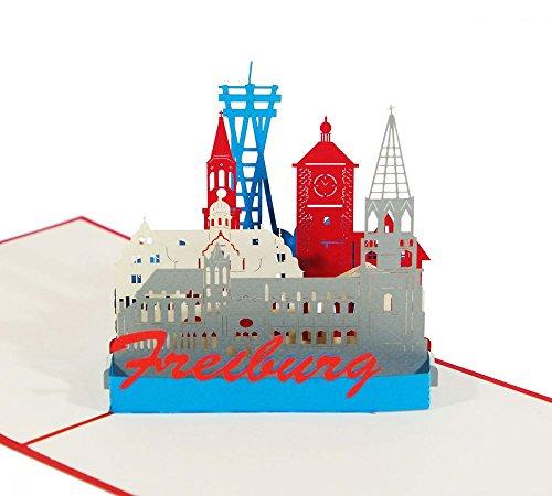 Freiburg - Klappkarte / 3D Pop-Up Karte - Grußkarte, Geburtstagskarte, Reise-Gutschein, Glückwunschkarte, Gutschein-Karte, Urlaubskarte, Andenken, Souvenir aus dem Breisgau