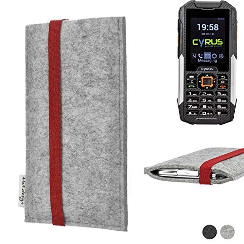 flat.design Handy Hülle Coimbra für Cyrus cm 16 individualisierbare Handytasche Filz Tasche rot grau