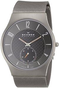 Reloj de caballero Skagen Slimline 805 XLTTM de cuarzo, correa de titanio color gris de Skagen
