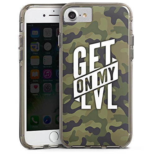 Apple iPhone 7 Silikon Hülle Case Schutzhülle Montanablack Fanartikel Merchandise Get On My Level Camo Bumper Case transparent grau