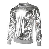 YunYoud Herren Slim Fit O Hals Lange Ärmel Muskel T-Shirt T-Shirt Lässige Oberteile Bluse (L, Silber)