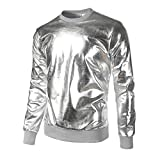 YunYoud Herren Slim Fit O Hals Lange Ärmel Muskel T-Shirt T-Shirt Lässige Oberteile Bluse (XL, Silber)