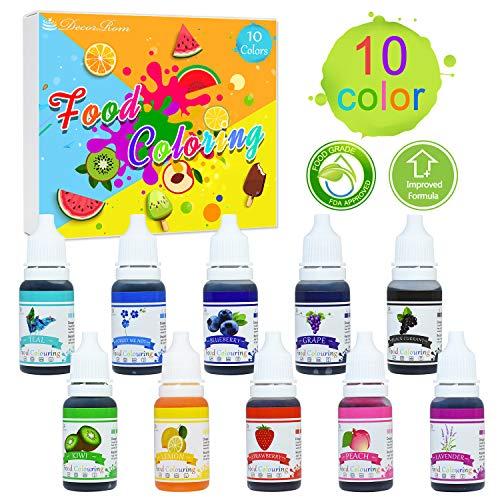 Lebensmittelfarbe - 10 Farben x 10ml Flüssige Lebensmittel Farben Set für Kuchen Backen, Kekse, Macaron - Hochkonzentrierte Food Coloring für Kuchendekoration, DIY Slime, Kunsthandwerk Einfärben