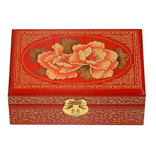 Style chinois boîte à bijoux en bois avec verrouillage Blooming pivoine