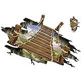 Cdet 1Pcs 3D Brücken Fußboden Wandaufkleber Kreative DIY Wandtattoos Wohnzimmer Schlafzimmer Küche Treppe Wandsticker aufkleber Abziehbild Wandhauptdekoration,60*90cm