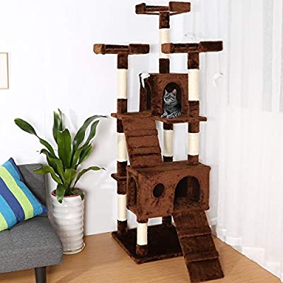 175cm Cat Tree House With Cat House Sisal Post Durable & Comfortable Cat Climbing Multi-storied Deluxe Frame Set by Cheerforu
