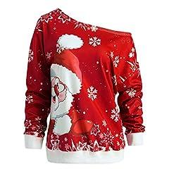Idea Regalo - VICGREY Natale Felpa da Donna Stampa Babbo di Natale Colletto Obliquo Top Casual Autunno Inverno Caldo Camicetta Sport Running Pullover Maglione Camicia Regalo di Natale