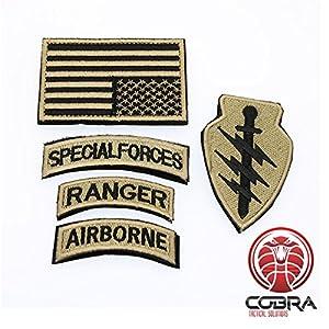 Cobra Tactical Solutions Patch Militaire kit de Forces Spéciales Rangers Aérien Drapeau USA Or Hook & Loop
