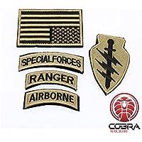 Cobra Tactical Solutions Conjunto de Parche Militar Fuerzas Especiales Ranger Airborne con Bandera EE. UU. Oro y Cinta adherente