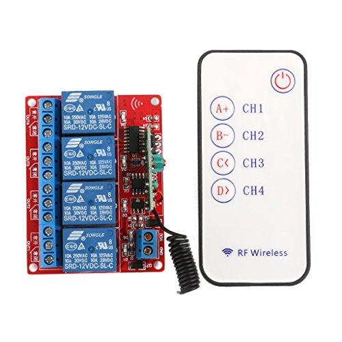 12v Vier Kanal 4-Kanal RF Wireless Fernsteuerung Schalter Relaismodul 433MHz (Wireless-relais)