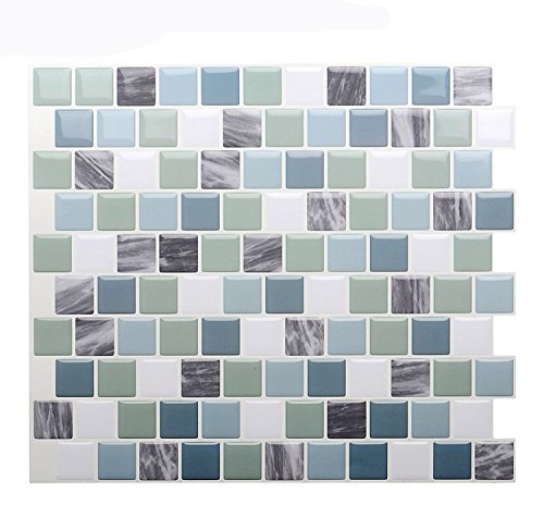 "Vamos Tile Premium Anti Mold Peel and Stick Tile Backsplash,Self Adhesive Wall Tiles for Kitchen & Bathroom-10"" x 9"" (6 Sheets)"