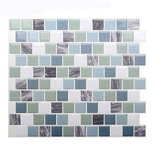 "Vamos Tile Premium Anti Mold Peel and Stick Tile Backsplash,Self Adhesive Wall Tiles for Kitchen & Bathroom-10"" x 9"" (6 Sheets)"