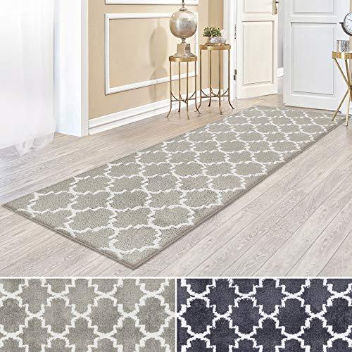 casa pura Kurzflor Teppich Läufer MARRAKESCH mit marokkanischem Muster | Meterware | Rutschfester Latex-Rücken | Teppichläufer für Wohnzimmer, Küche, Flur, Schlafzimmer | 2 Farben (beige, 81x100 cm)