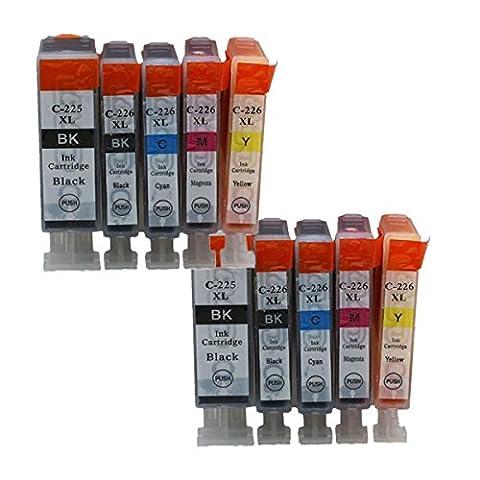 Generisch 2 Sets = 10 pgi-225/cli-226 pgi225 PGI 225 (INC grau) (US Versionen nur.) kein Tintenpatrone ersetzt pgi-225/cli-226 Für die Canon Pixma MG6200 Drucker (2 x schwarz, 2 X PHOTO SCHWARZ, 2 X Cyan, 2 x Magenta 2 x (226 Oem Tintenpatrone)