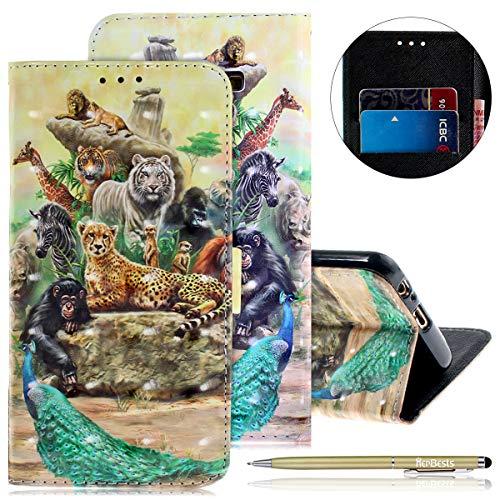 Herbests Kompatibel mit Lederhülle Galaxy A8 2018 Bunt Ledertasche Handytasche Flip Case Retro Glitzer Bling Glänzend Leder Hülle Handy Schutzhülle Klapphülle Handyhülle,AFFE Tiger