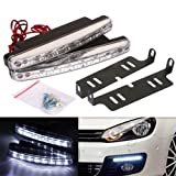 #6: AutoSun White 8 LED Daytime Super Running Lights Pair (2 Strips)