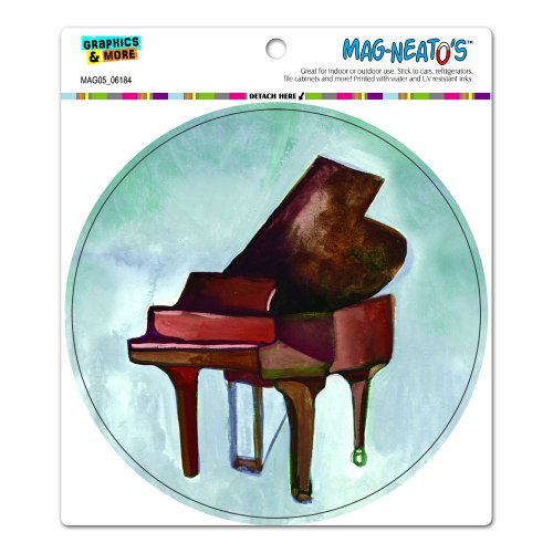 Preisvergleich Produktbild Grand Piano, neutralen Tönen lackiert–Musik Musiker Kreis Mag-Neato 's-TM) Automotive Auto Motorhaube Kofferraum Kühlschrank Locker Vinyl Magnet
