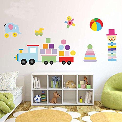 ufengke® Treno Blocchi Elefante e Calcio Adesivi Murali, Camera dei Bambini Vivai Adesivi da Parete (Blocchi Treno)