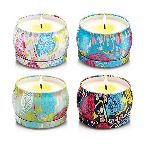 smileyshy Aromatherapie-Kerze, 4,4 Unzen Aromatherapie-Kerze Geschenkset natürliche Pflanze Soja Wachs Lavendel Haselnuss rauchfreie Kerze Set Aromatherapie-Kerze Set -