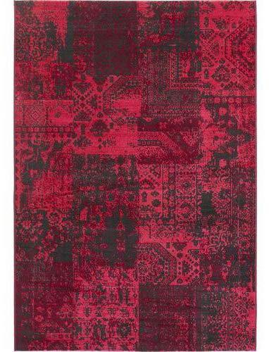 Carpeto Teppich Vintage Rosa 140 x 200 cm Patchwork Muster Flachgewebe Santorini Kollektion