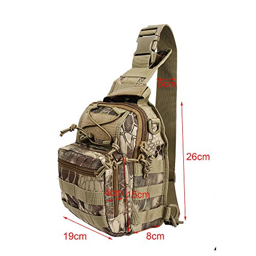 Airsson Military Shoulder Sling Chest Bag Pack Tactical Bagpack Molle Large Daypack for Outdoor Travel Camping Hiking Trekking 1000D Highlander Camo