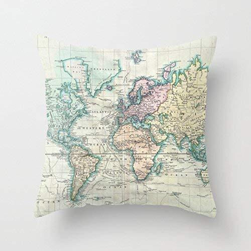 MeiMei2 1801 - Funda de cojín Cuadrada para sofá, diseño de Mapa del Mundo, algodón, 45,72 x 45,72...
