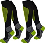 2 Paar Kompressionsstrümpfe für Damen und Herren - Reisekniestrumpf mit Stützfunktion - Spitze handgekettelt Farbe Sport/Grün Größe 39/42