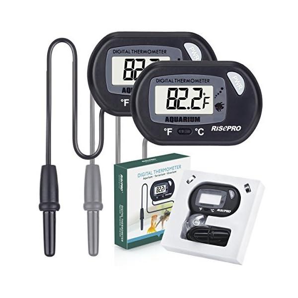 RISEPRO Aquarium Thermometer, 2 pack Digital Water Thermometer For Fish Tank Aquarium Marine Temperature Vivarium…