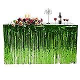 Tischrock Skirt Metall Fransen – 74 x 274 cm Vorhänge, Dekoration für Party, Party, Party, Dekoration, Fringed Feiern, Stärke, Vorhang, Urlaub, grün, 74 * 274cm