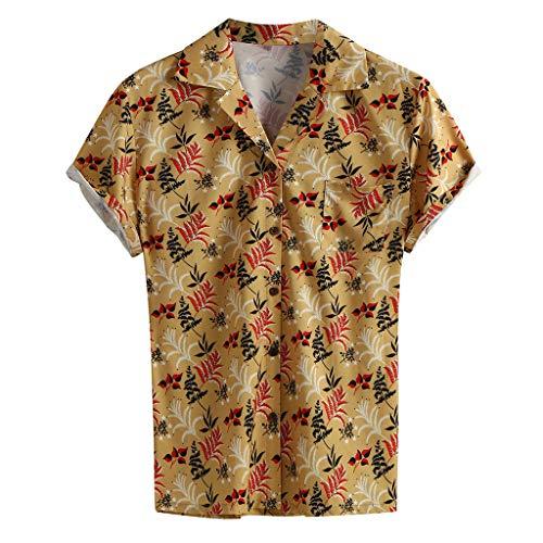 TYTUOO Herren Bluse Multi Color Print Hawaiien Hemd Lump Brusttasche Kurzarm Rundsaum Lose Hemden