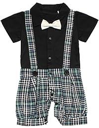 iEFiEL Pelele Bebé Niño de Cuadros Conjunto de Una Pieza Estilo de Pantalones de Petos Mono Infantil
