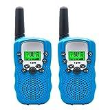 Kinder Walkie Talkies Set, 3 KM Long Range T-388 Walkie Talkie mit 22 Kanal Funkgeräte, Top Vigor Hände frei Mini Walkie Talkies Lautsprecher für Kinder mit Taschenlampe und LCD Bildschirm (Bule)