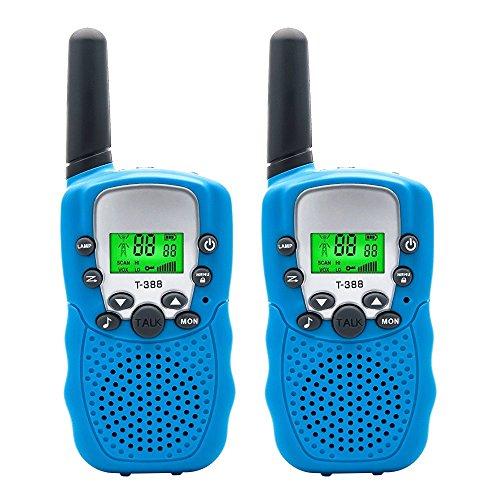 kie Talkies Set, 3 KM Long Range T-388 Walkie Talkie mit 22 Kanal Funkgeräte, Hände frei Mini Walkie Talkies Lautsprecher für Kinder mit Taschenlampe und LCD Bildschirm (Bule) ()
