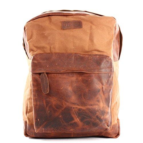 LECONI Rucksack Lederrucksack für Damen & Herren Vintage-Style Schulrucksack Retro Freizeitrucksack DIN A4 backpack Wanderrucksack aus Leder & Canvas 30x40x12cm cognac LE1015-C