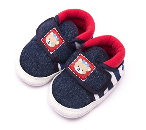 Infano Teddy Style Back Stripes Printed Blue Color Baby Shoes...