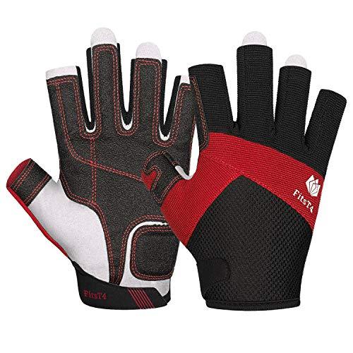 FitsT4 Kajak-Handschuhe 3/4-Finger gepolsterte Handfläche - Mesh-Rücken für Komfort - Perfekt zum Segeln, Paddeln, Kanufahren, Kajakfahren, SUP Stehpaddeln - für Männer Frauen und Kinder