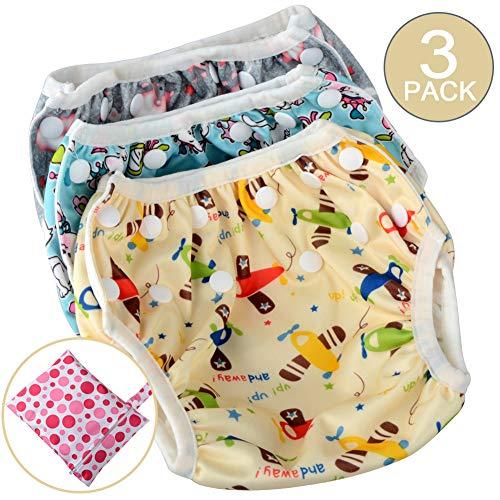 Couches de natation réutilisables, réglables et lavables pour bébé, cadeaux de baby shower, leçons de natation, pour 0-2 ans (lot de 3)