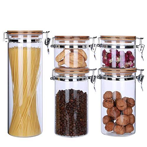 Vorratsdosen aus klarem Borosilikatglas mit luftdichter Verschlussklammer, Bambusdeckel für die Küche, BPA-frei 68oz x 1、40oz x 2、16oz x 2 Glass Kitchen Canisters 68 Oz Jar