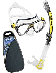 Cressi Big Eyes Evolution & Alpha Ultra Dry Professional Combo, Set per Immersioni e Snorkelling Unisex – Adulto, Trasparente/Giallo