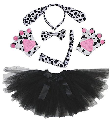 Dalmatians Dog Headband Bowtie Tail Gloves Black Tutu 5pc Girl Costume for Party (Schwarz) (Black Dog Kostüm Kinder)
